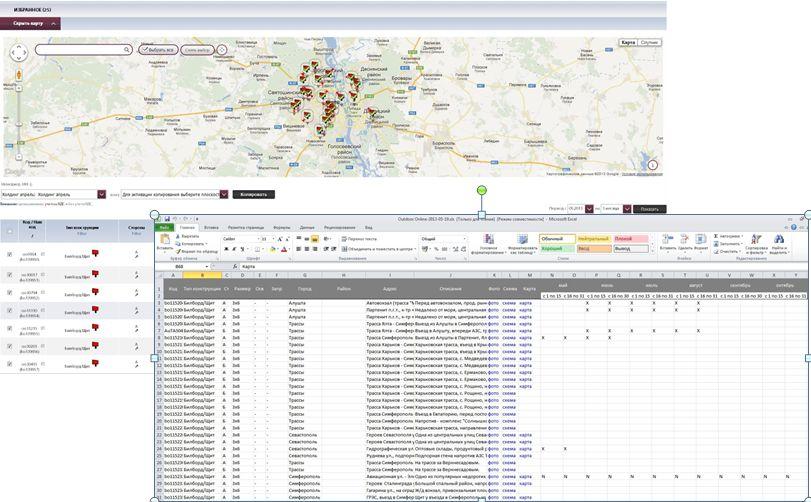 Подбор скриншотов из системы Аутдор-Онлайн